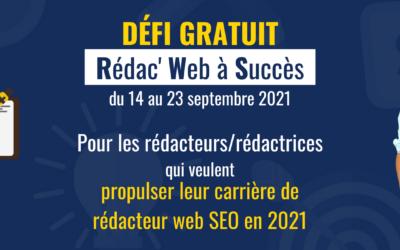 Le défi Rédac' Web à Succès commence mardi 14 septembre!